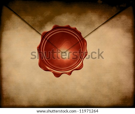 Old paper envelope with a wax seal