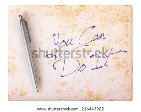 Old paper grunge background, white and brown - You can do it - stock photo