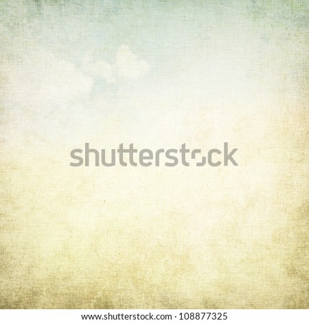 old paper grunge background with delicate abstract canvas texture and blue sky view