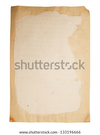 Old paper isolated on a white background.