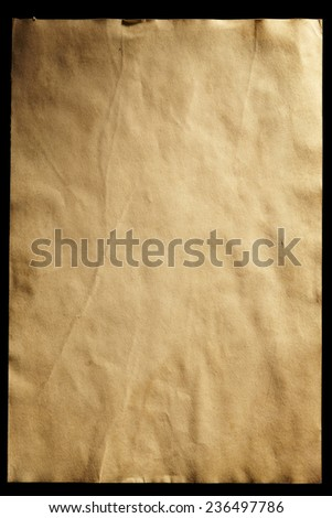 Old Paper isolated on Black Background. Top View. Grunge Look - stock photo
