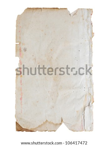 Old paper isolated on white background. - stock photo