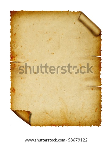 Old paper isolated on white background, clipping path.