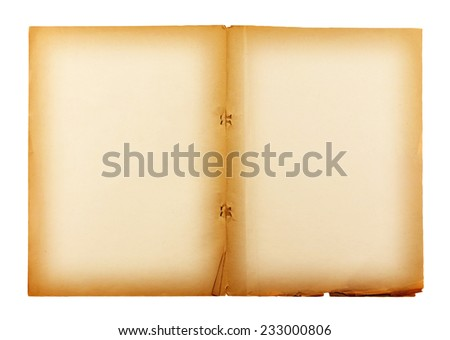 old paper isolated on white background , with clipping path. - stock photo