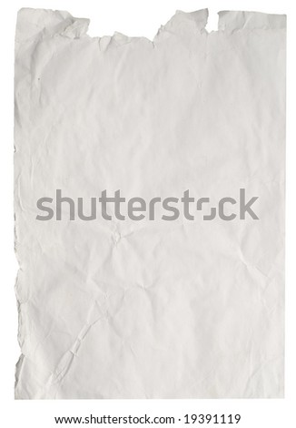 old paper isolated on white (series) - stock photo