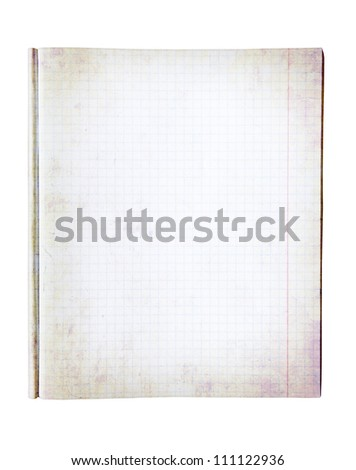old paper notebook isolated on white - stock photo