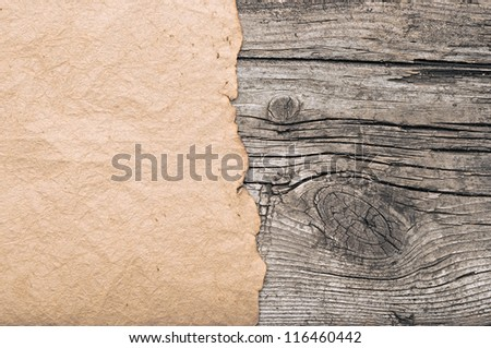 old paper on border wood background - stock photo