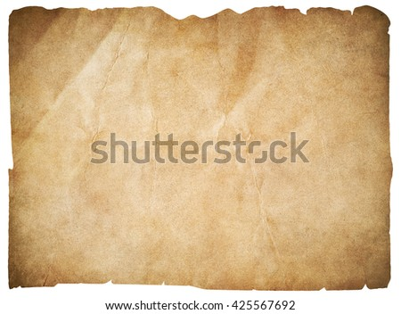 old paper or blank pirates map isolated with clipping path - stock photo