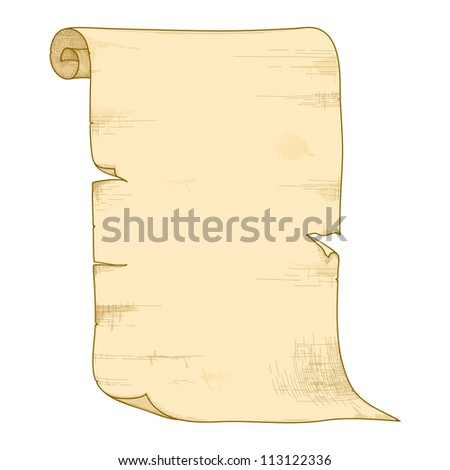 Old paper roll isolated on white background. Raster version. - stock photo