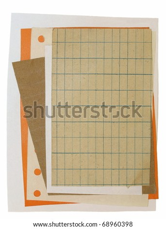 old paper scraps isolated on white background - stock photo