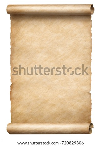 Old paper scroll or parchment isolated vertically oriented 3d illustration