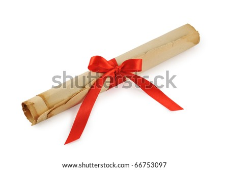 old paper scroll with ribbon isolated on white - stock photo