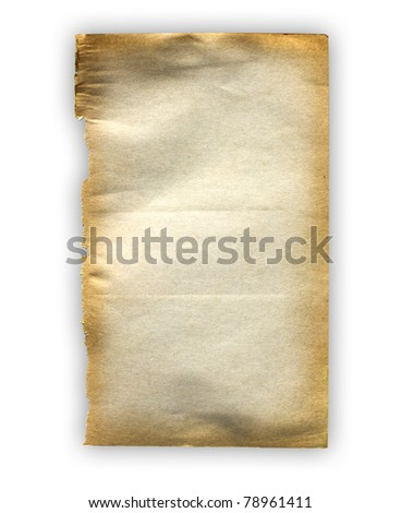 Old paper sheet isolate on white background