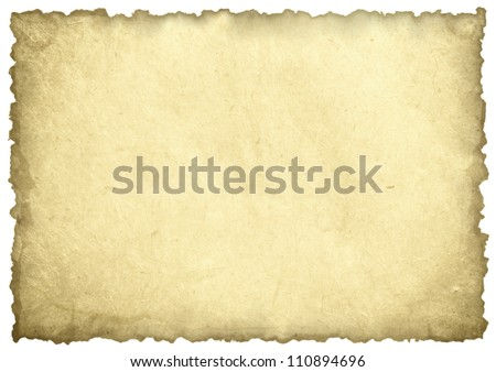 old paper sheet isolated on white - stock photo