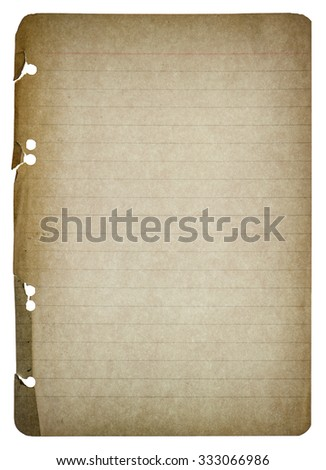 Old paper sheet isolated on white background. Used paper texture. Vintage style toned with vignette - stock photo