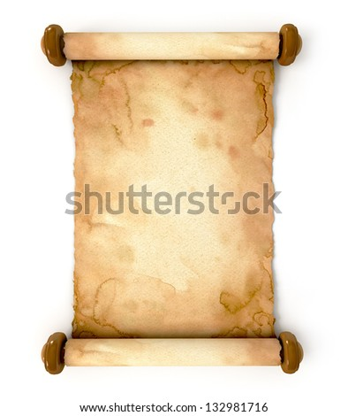 Old paper sheet. Unfurled an ancient scroll. Conceptual illustration. Isolated on white background. 3d render - stock photo