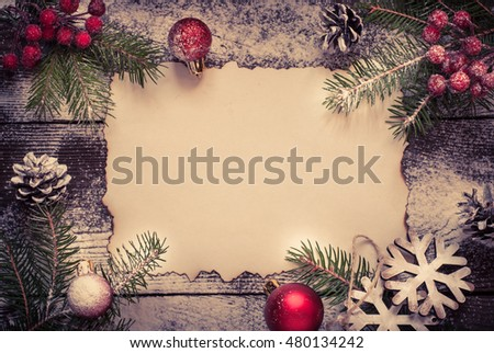 Old paper sheet snow christmas decorations stock photo royalty free old paper sheet with snow and christmas decorations free space for christmas greetings m4hsunfo
