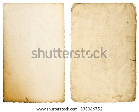 Old paper sheets with edges isolated on white background. Used texture - stock photo