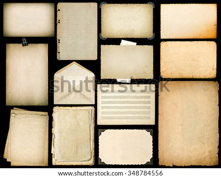 Old paper sheets with edges. Vintage book pages, cardboard, music notes, photo frame with corner, envelope isolated on black background