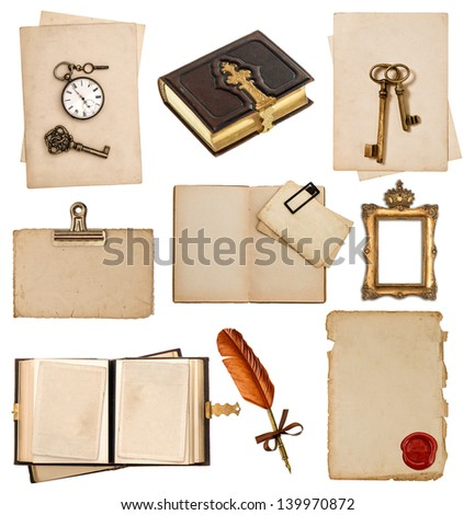 old paper sheets with vintage accessories isolated on white background. antique clock, key, postcard, photo album, feather pen - stock photo