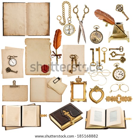 old paper sheets with vintage accessories isolated on white background. antique clock, postcard, photo album, feather pen, keys and glasses - stock photo