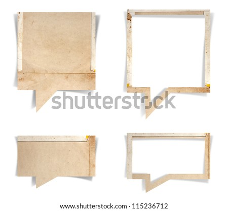 Old paper stick speech bubble, isolated on white background (Save Paths For design work)