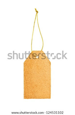 Old paper tag with golden string isolated on white - stock photo