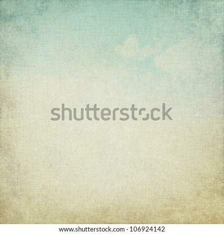 old paper texture as grunge background with blue sky and white clouds dirty view - stock photo