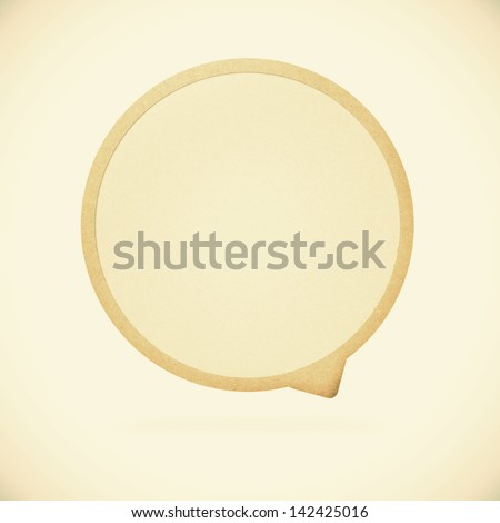 Old Paper texture ,bubble talk tag on vintage tone  background - stock photo