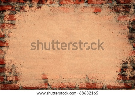 Old paper texture cover old brick wall - stock photo