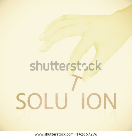 Old Paper texture ,Hand made solution word - stock photo