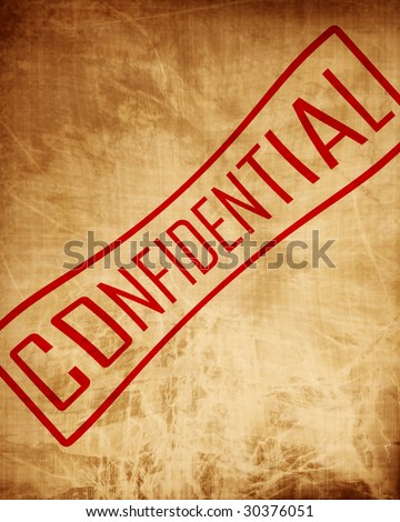 Old paper texture with some stains and 'confidential'