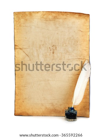 Old paper, white feather, inkwell close-up isolated. Retro style. - stock photo