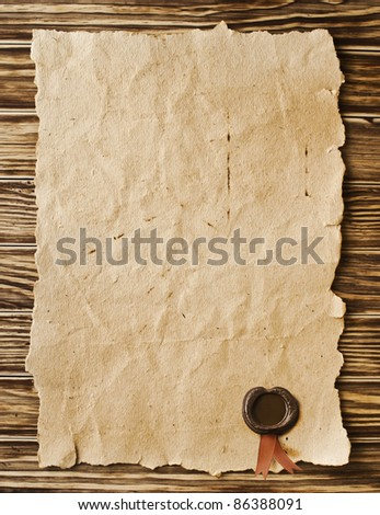 old paper with a wax seal