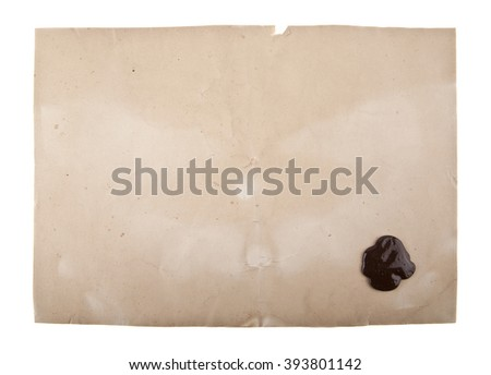 old paper with a wax seal  isolated on white background - stock photo