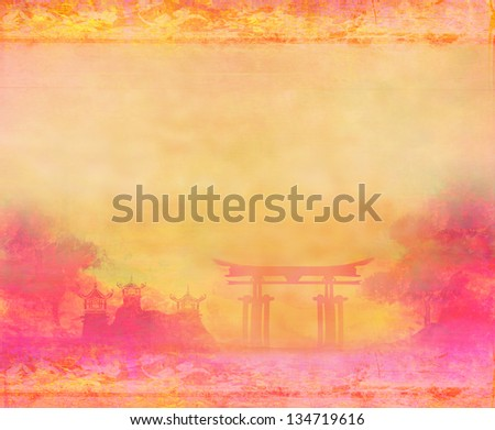 old paper with Chinese landscape - stock photo