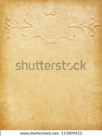 Old  paper with  classic pattern and  space for text in the shape of parchment. - stock photo
