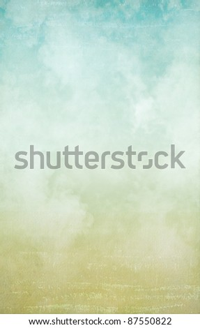 Old paper with dreamy clouds - stock photo