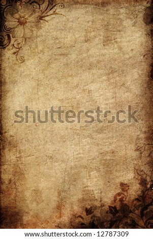 old paper with flowers pattern - stock photo
