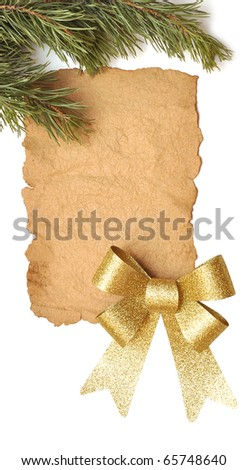 Old paper with gold bow isolated on a white background. - stock photo