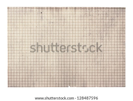 old paper with grid isolated on white background