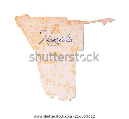 Old paper with handwriting, blue ink - Namibia - stock photo