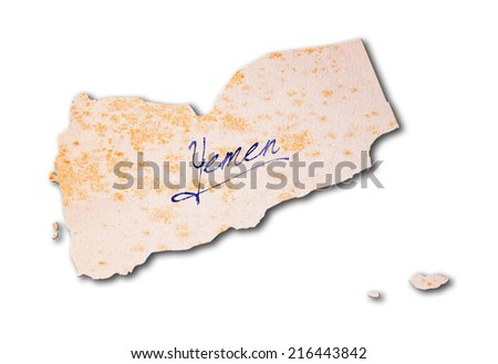Old paper with handwriting, blue ink - Yemen - stock photo