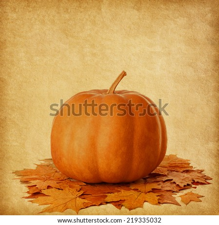 Old paper with pumpkin and dry autumn leaves  - stock photo