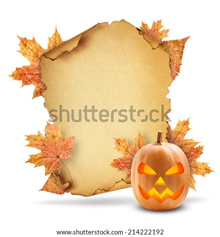 old paper with pumpkin and dry autumn leaves on a white background - stock photo
