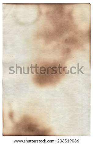 Old paper with scratches and stains texture isolated on white - stock photo