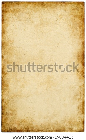Old paper with stains and scratches. - stock photo