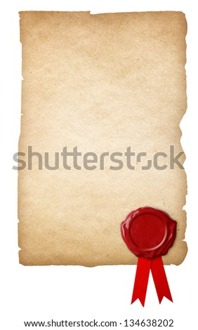Old paper with wax seal and ribbon isolated on white background - stock photo