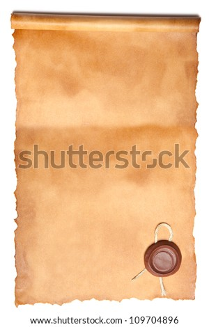Old paper with wax seal isolated over a white background - stock photo
