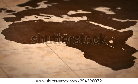 Old paper World Map, Macro, Africa, A. - stock photo